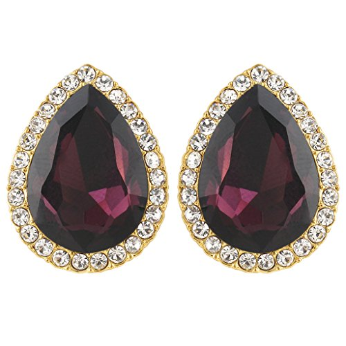 (EVER FAITH Women's Austrian Crystal Wedding Teardrop Stud Earrings Purple Gold-Tone)