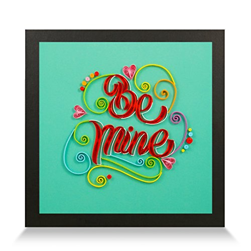 Be Mine Handmade Paper Quilling Artwork, Framed 3D Wall Art or Stand Art as Unique Gift for Rustic Home Decor Quilled by Canadian Artist