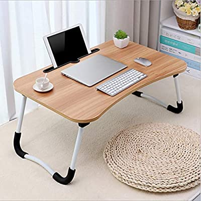Foldable Small Desk Home Bedroom Multipurpose Table, Large Bed Tray Foldable Portable Multifunction Laptop Desk Lazy Laptop Table Mini Notebook Desk, [Ship from USA Directly]: Kitchen & Dining