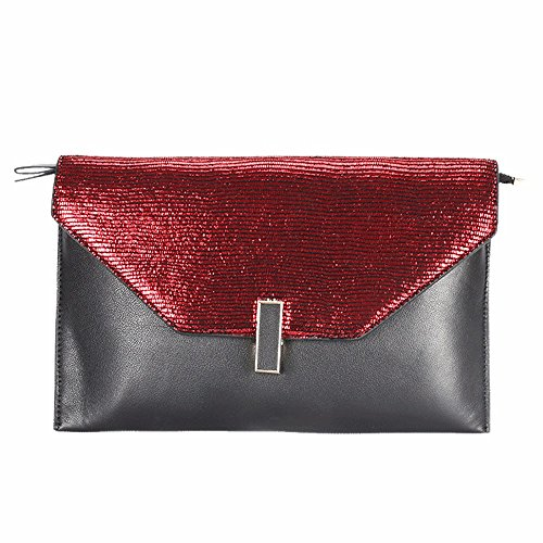 2018 pelle nuova frizione borsa europea e americana borsa,rosso - nero rosso - nero