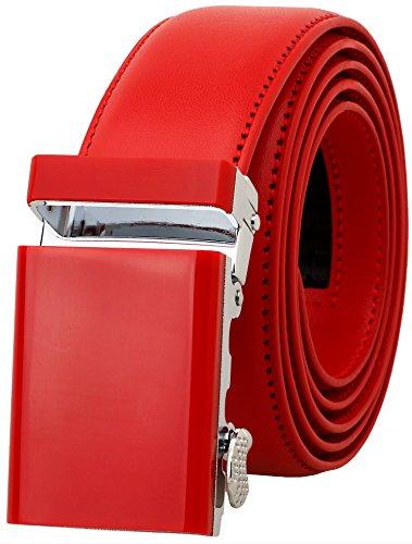 Red Genuine Belt (Falari Men's Genuine Leather Ratchet Dress Belt Automatic Sliding Buckle 8168-RED-M36)