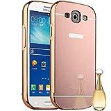 Semoss Premium Hardcase Miroir Coque Aluminium Housse en Protection pour Samsung Galaxy S3 i9300 i9305 Métal Diamant Bumper Hardcase Etui Cover Rigide - Rose