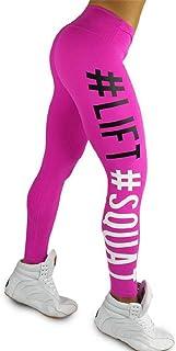 SHOBDW Mujeres Carta de Moda Estirar Imprimir Push Up Entrenamiento Leggings Gimnasio Deportes Gimnasio Cintura Alta Mallas para Correr Pantalones de Yoga Pantalones Deportivos Suaves