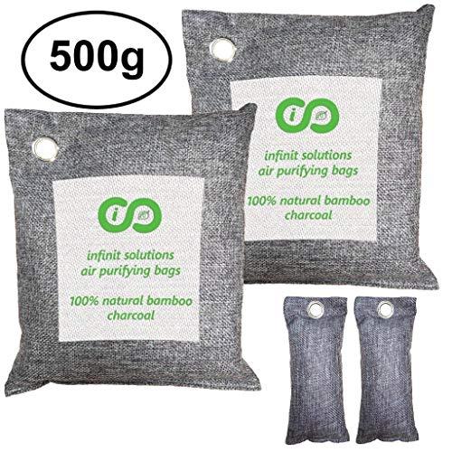 Infinit USA Bamboo Charcoal Air Purifying Bag (4 Pack), Car Freshener & Home Odor Eliminators, Activated Charcoal Deodorizer, Odor Absorber, Air Freshener 2 x 500g + Bonus 2 x 100g Shoe Deodorizers
