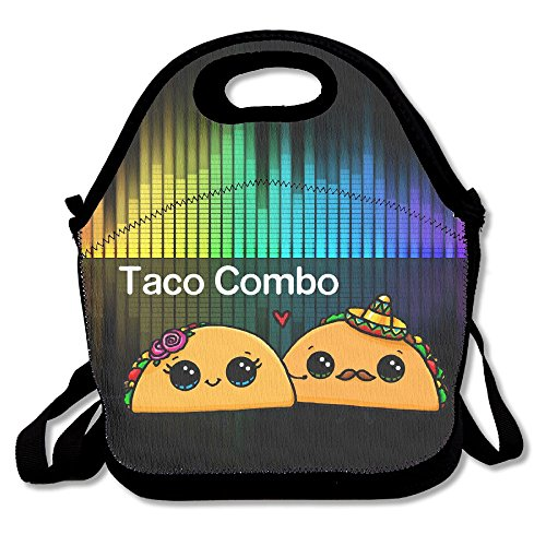 Hoeless Taco Combo Insulated Lunch Bag With Zipper,Carry Handle And Shoulder Strap For Adults Or Kids Black