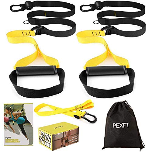 PEXFT Bodyweight Resistance Trainer Kit - Outdoor and Indoor, Easy and Quick to Train Indoors Without Installing Door Stop
