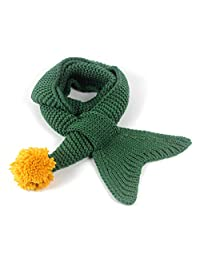 KAKAKI Girls Cotton Knit Mermaid Tail Winter Warm Soft Shawl Wrap Long Scarf (Green)