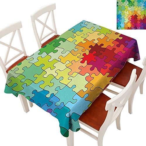 Elegant Waterproof Spillproof Polyester Fabric Table Cover Tablecloths for Rectangle/Oblong/Oval Tables Colorful Puzzle Pieces Fractal Children Hobby Activity Leisure Toys Cartoon Image Multicolor 54 from WinfreyDecor
