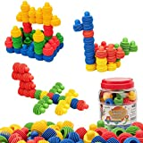MECY STEM Toys Kids Educational Toys Building Blocks Building Column Sets Interlocking Soft Plastic for Preschool Kids Boys and Girls, Safe Material for Kids - 60 pieces with Storage Tub
