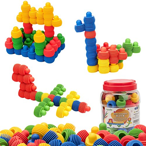 MECY STEM Toys Kids Educational Toys Building Blocks Building Column Sets Interlocking Soft Plastic for Preschool Kids Boys and Girls, Safe Material for Kids - 60 pieces with Storage Tub by MECY