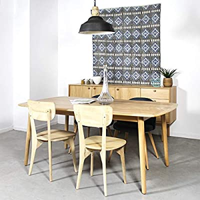 Mesa de Comedor Madera Maciza Extensible 220 cm | 2422 - 01 - 4 ...