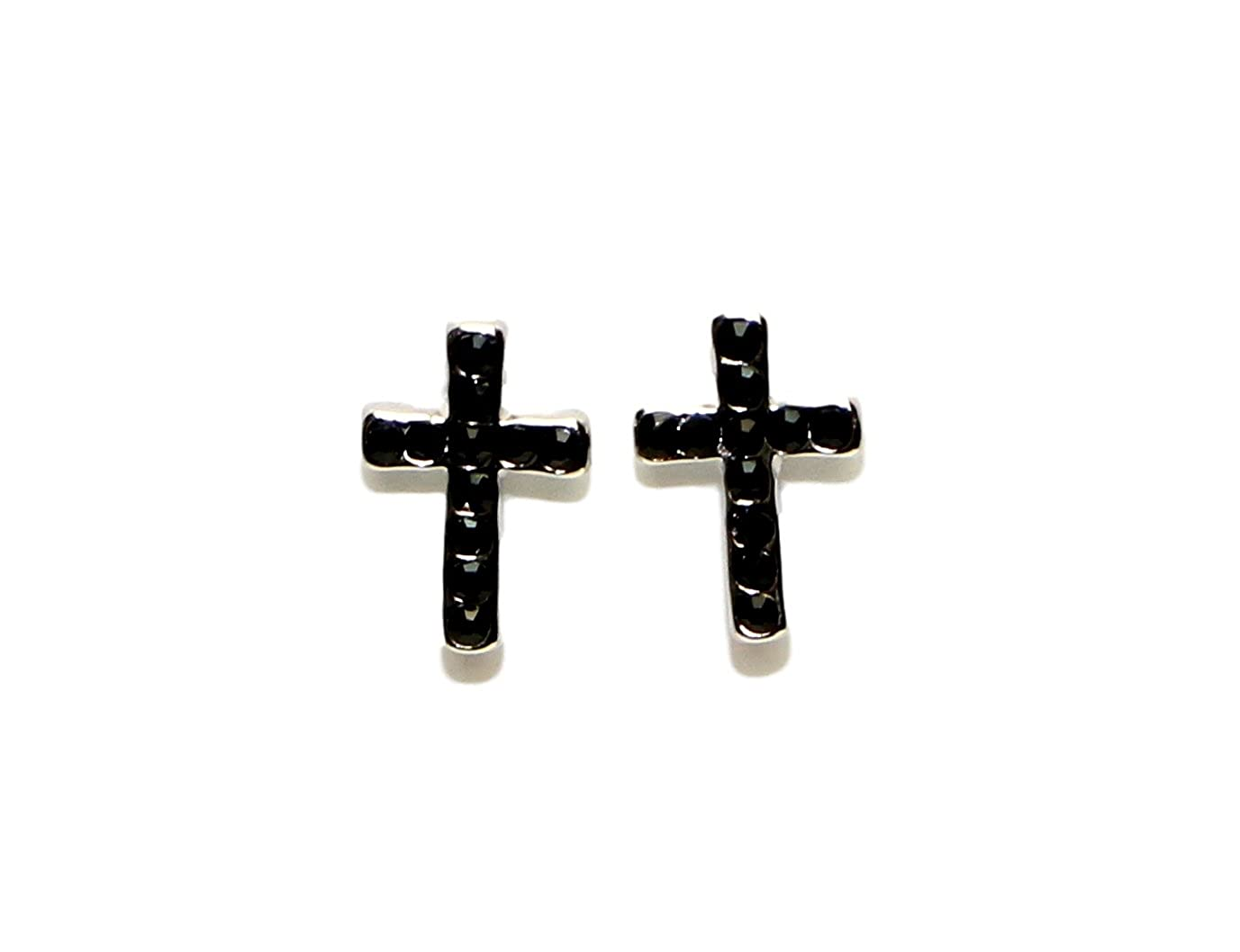 Surgical Stainless Steel Studs Earrings Cross Cubic Zirconia Hypoallergenic Earrings