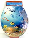 "Swimming Fish Aquarium Print 17"" Durable Heavy Duty Wood Hard Toilet Seat with High Gloss Finish by DINY Home & Style"