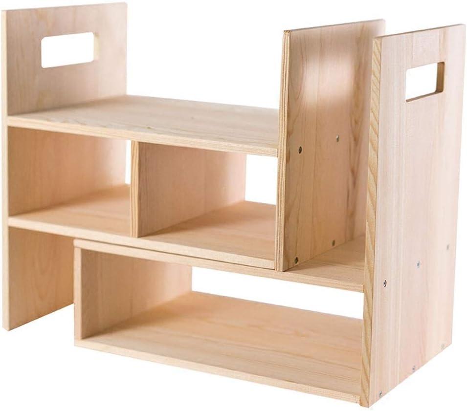 Carl Artbay Wooden Bookcase Storage Desktop, 3 Tier Freestanding Desk Organizer for Adjustable Display Shelf Home and Office Bookshelf Furniture Toy Shelving Rack Natural
