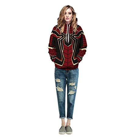 Amazon.com: CHAOHAO@ Ladies Hooded Sweater 3D Halloween New Spider-Man Digital Print Hooded Sweater Lovers Large Size Tops: Sports & Outdoors