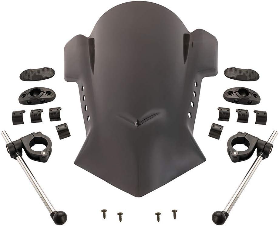 Deflector de viento de moto universal de plástico ABS ajustable parabrisas de bicicleta de calle parabrisas bici de la suciedad para Yamaha para Kawasaki para Ducati (Negro)