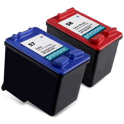 Printronic Remanufactured Ink Cartridge Replacement for HP C6658AN (Tri Color,Photo Color,2-Pack)