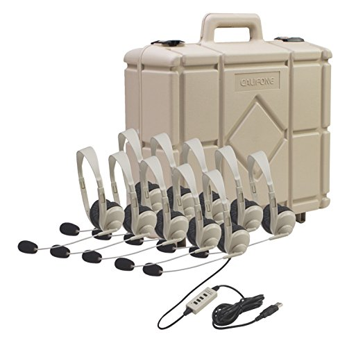 Califone 3064-USB 10 Pack of Multimedia Stereo Headsets with 2001 Carrying Case ()