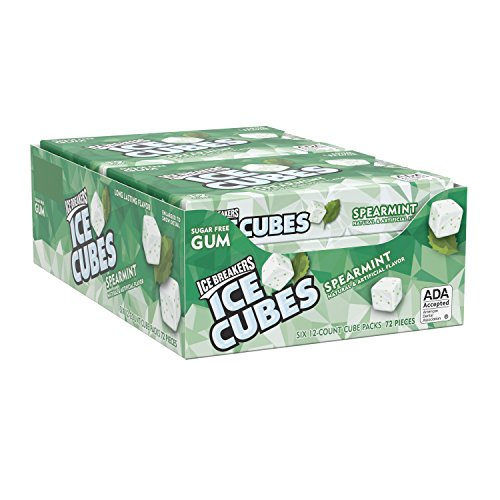 Gum 12 Piece Packs - ICE BREAKERS ICE CUBES Sugar Free Spearmint Gum, 12 Pieces (Pack of 6)