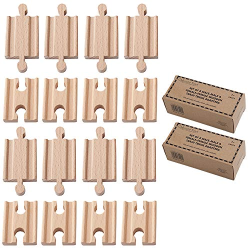 Orbrium 2X Pack of 8, 16 Pcs Toys Male-Male Female-Female Wooden Train Track Adapters Fits Thomas The Tank Engine, Brio Chuggington Adapter