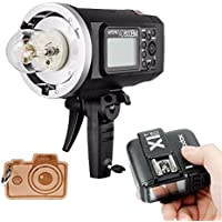 Godox HSS AD600BM Bowens Mount 600Ws GN87 High Speed Sync Outdoor Flash Strobe Light with X1T-C X1C Wireless Flash Trigger, 8700mAh Battery Pack to Provide 500 Full Power Flashes for Canon