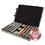 Brybelly 1000-Count Tournament Pro Poker Chip Set in Rolling Aluminum Case, 11.5gm