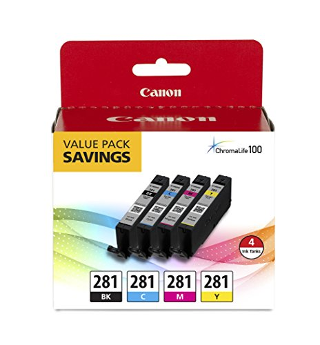 Canon CLI-281 XL BKCMY Four Color Value Pack Compatible to TR8520, TR7520, TS9120 Series,TS8120 Series, TS6120 Series, TS9521C, TS9520, TS8220 Series, TS6220 -