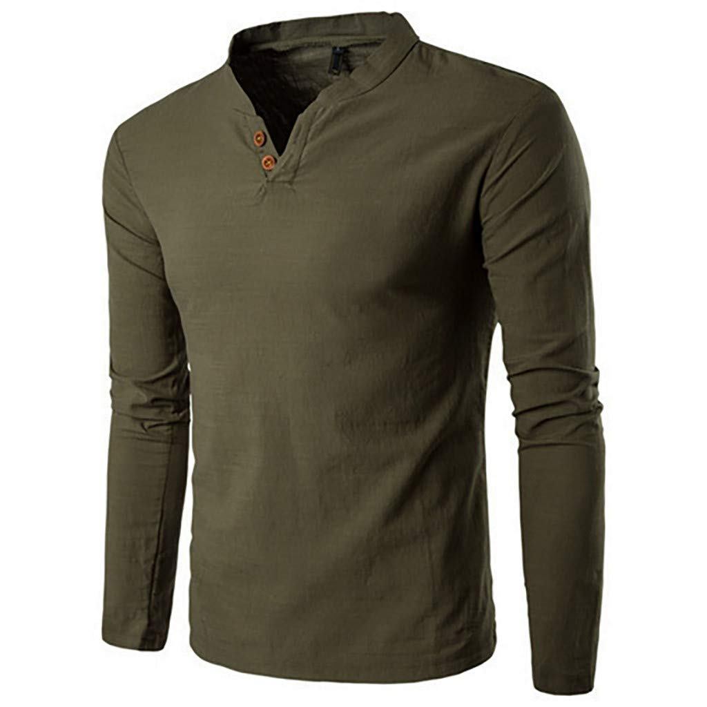 Pervobs Men's Basic Solid Long Sleeve Splicing V-Neck Button Henry T-Shirt Top Blouse(2XL, Army Green)