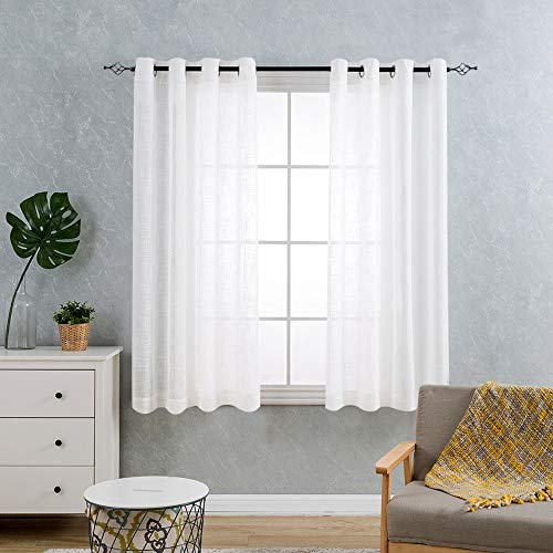 Open Weave Sheer Curtains for Living Room Grommet Top Window Treatment Sets for Bedroom Linen Like Curtain Drapes 63 Inch Length 1 Pair White