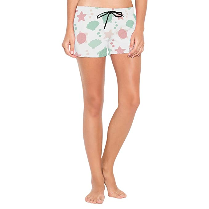 2e72a8039a Women Swim Trunks Pink Sea Starfish Shell Turtle Green Beach Board ...