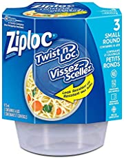 Ziploc Food Storage Containers, Reusable for Kitchen Organization, Twist N' Lock Technology, Dishwasher Safe, Small Round, 3 Count