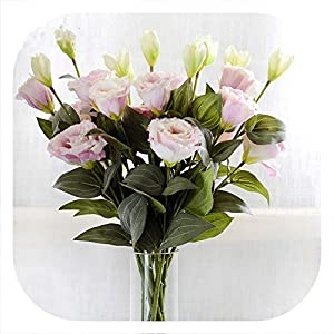 meiguiyuan 1PC European Artificial Flower 3 Heads Fake Eustoma Gradiflorus Lisianthus Christmas Wedding Party Home Decorative 5 Colours 79