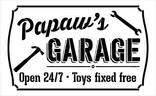 4a995dea Papaws garage open sign stencil studior reusable mylar template use to  paint wood signs pallets diy