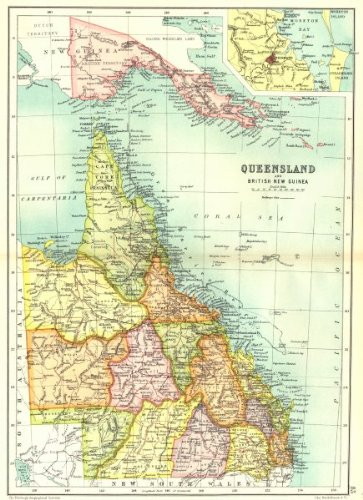 Amazon.com: QUEENSLAND:State map.Counties.Inset Brisbane.Australia ...