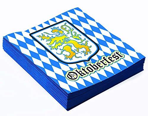 PMU Oktoberfest Lunch Napkins Bavarian Blue and White Pattern 13''x13'' (16/Pkg) Pkg/12 by PMU