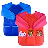 NABLUE 2 Piece Waterproof Children's Art Smock Kids Art Aprons with Long Sleeve 3 Roomy Pockets,Art Painting Supplies (Blue+Red)