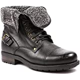 Polar Fox MPX-506015 Black Mens Buckle Strap Military Fold Down Combat Work Desert Ankle Boot w/ Fur