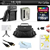 16GB Accessories Bundle Kit For Canon PowerShot SX50 HS, SX40 HS, SX60 HS G1 X, G15, G16, G3 X Digital Camera Includes 16GB High Speed SD Memory Card + Replacement NB-10L Battery + Charger ++