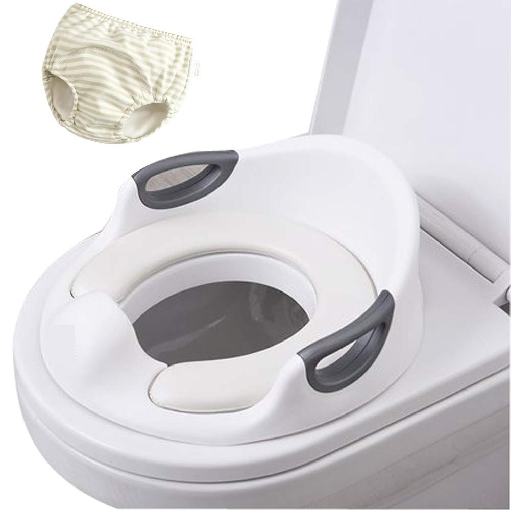 Baby Potty Training Toilet Seat Cover Pads Boys Girls, Kids Travel Potty Ring Portable Urinal Assistant, Toilet Trainer with Handle, Soft Cushion and Backrest, Extra-Large,White