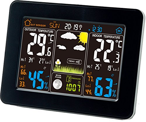 Atomic Wireless Weather Station with Indoor / Outdoor Wireless Sensor – TG645 Color Display Weather Station Alarm Clock With Temperature Alerts, Forecasting by Think Gizmos. Photo #1
