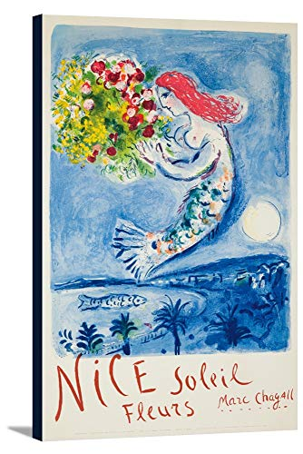 Nice - Soleil, Fleurs Vintage Poster (artist: Chagall) France c. 1962 (22 1/4x36 Gallery Wrapped Stretched Canvas)