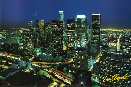 P Cocci LOS ANGELES POSTER Downtown Skyline RARE HOT NEW 24x
