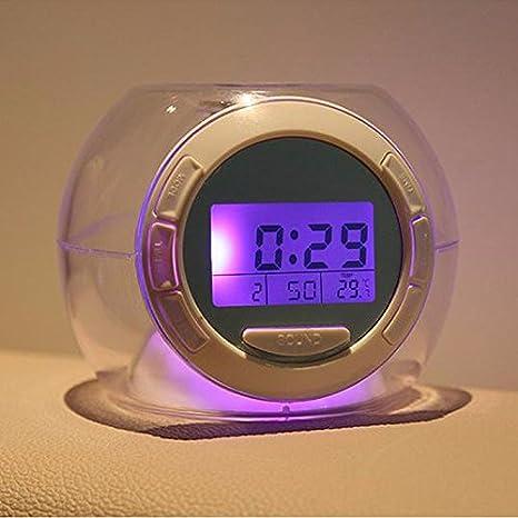 [Envio Gratis] cambio de color luz LED reloj despertador con sonidos de la naturaleza multifuncional alarma ...