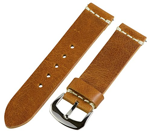 Clockwork Synergy Dapper Collection - 22mm Light Brown Worn Leather Watch Band - Synergy Collection