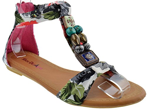 Tribal Womens Floral Beaded Decorated Flat Sandals Fushia - Womens Floral Sandals