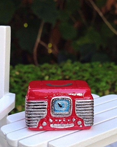 Miniature Dollhouse Fairy Garden Accessories Small Red Retro - Miniature Radio