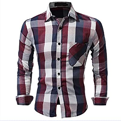 Tootless Men Casual Slim Fit Long Sleeve Plus Size Plaid Dress Shirts