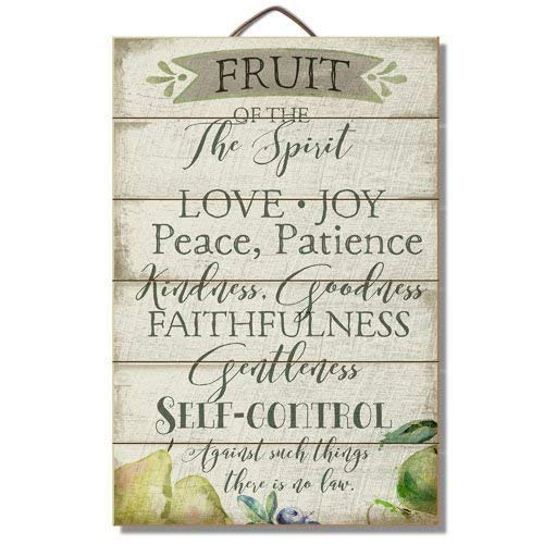 weewen Fruit of The Spirit 12X 18Wood Slatted Sign Funny Quote Plaque Sign Home Craft Sign for Women -
