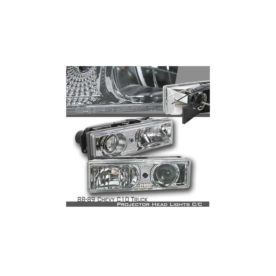 89 89 90 91 92 93 94 95 96 97 98 Chevy C/K 1500/2500/3500 Full Size/Tahoe/Suburban, GMC C10 Pickup/Suburban/Yukon Projector Headlights   Chrome (pair)