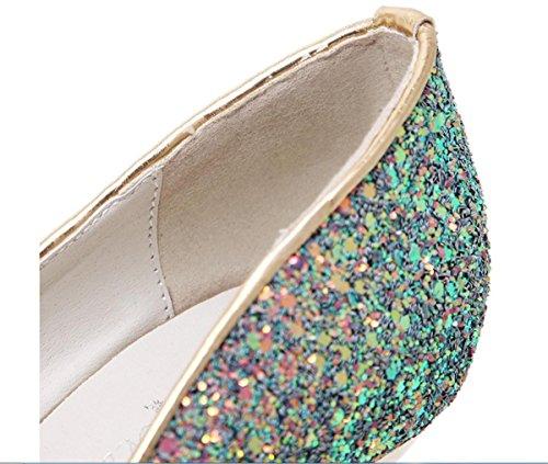 Boda Zapatos para Mujer Zapatillas Estilete Alto Tacón Plataforma Señoras Lentejuelas Impermeable Corte Zapatos Negro Blanco Parte Noche Paseo green